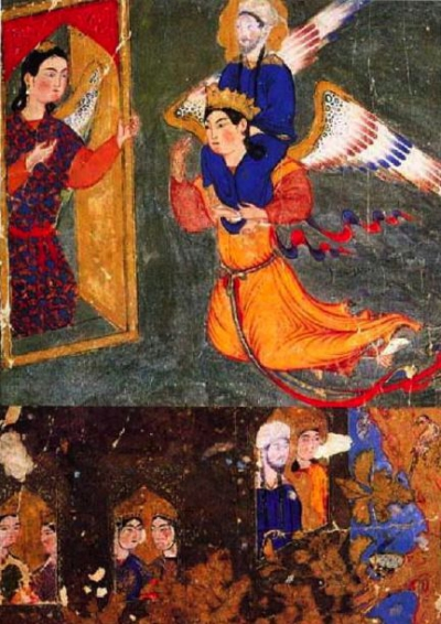 islamic-art-muhammad-carried-by-gabriel-arriving-at-gate-of-paradise-guarded-by-angel-ridwan-1360-70-tabriz-mirajnama-now-in-topkapi-palace-library.jpg
