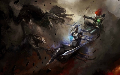 Warrior Fighting Archer Sword Weapon Bow Monster Fantasy HD Wallpaper Backgrounds Image Photo Picture.jpg